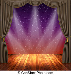 Stage with brown curtains and spotlight.