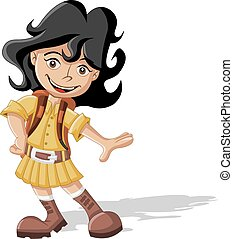 Cute cartoon explorer girl - Cute playful cartoon girl in...