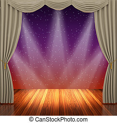 Stage with light brown curtains and spotlight