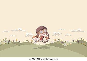 Cartoon boy with airplane toys - Cartoon boy with helmet and...