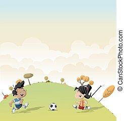 boy and girl playing football
