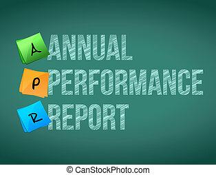 annual performance report post memo chalkboard sign...