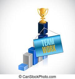 teamwork trophy business graph illustration design over...