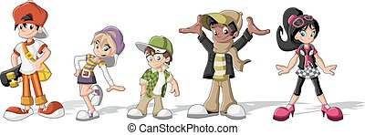 Cool teenagers. - Group of hipster cartoon young people....