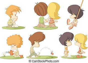cute cartoon kids in love