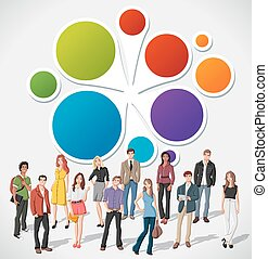 cartoon young people - Colorful template for advertising...