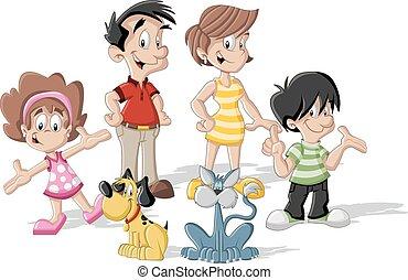 cartoon family - Colorful cute happy cartoon family