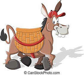Cartoon donkey carrying a large basket