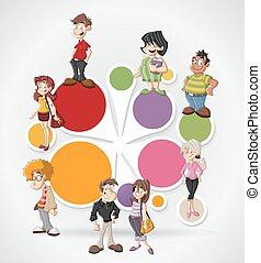 cartoon people - Colorful template for advertising brochure...