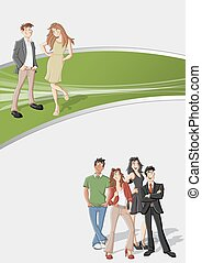 cartoon people - Green template for advertising brochure...
