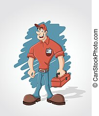 worker with red tool box - Cartoon worker with red tool box