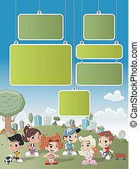 cartoon kids playing - Colorful template for advertising...