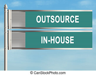 Outsourcing. Road sign on the sky background. Raster...