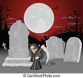 Halloween cemetery with death