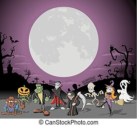 Halloween cemetery with monsters - Halloween background with...