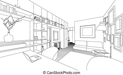 Vector drawing of the interior