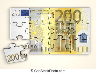 200 Euro Note Puzzle - Top View - 200 Euro note as a puzzle...