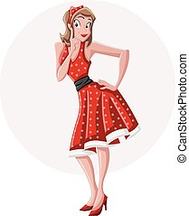 A sexy cartoon pin up girl wearing red dress