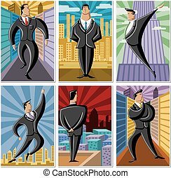 cartoon business men - Group of cartoon business men