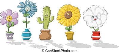 cartoon flowers in vases
