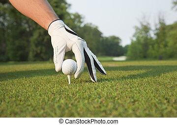 Golfers hand placing ball on tee - A selective focus, low...