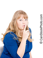 Appeal to silence - The young woman calls for silence having...
