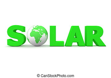 Solar World Green - green word Solar with 3D globe replacing...