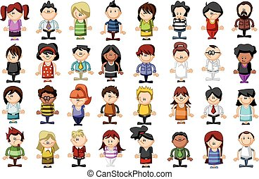 Group of cartoon people  - Group of funny cartoon people