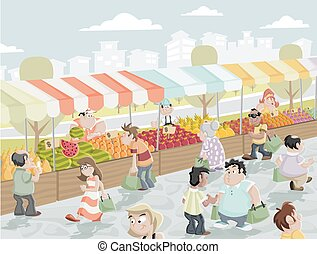 Market stall - Market place on a street with food and...
