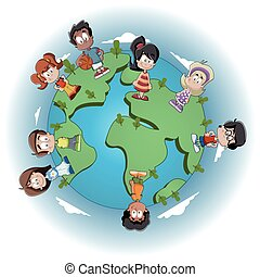 kids over earth planet - Cute happy cartoon kids over earth...