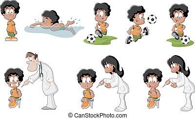 cartoon black boy - Cute playful cartoon black boy playing...