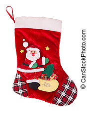 Red Christmas stocking - Red soft Christmas stocking on...