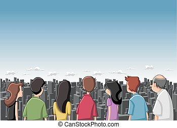 Group cartoon people looking