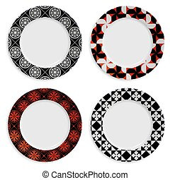Set of plates with pattern isolated on white