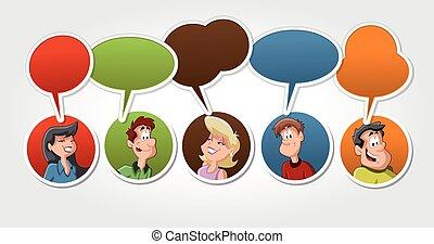 Group of cartoon people talking with speech balloon