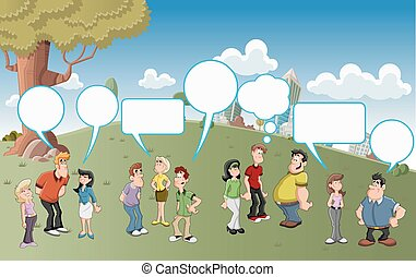 Group of cartoon people talking with speech balloon icons on...