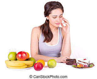 girl thinks if to eat cake
