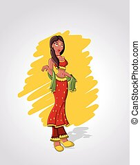 cartoon indian woman