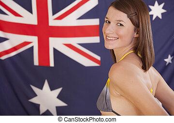 sur, femme, drapeau, Australien