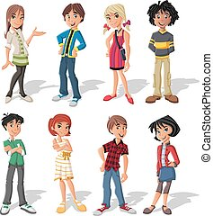 cartoon young people - Group of fashion cartoon young people