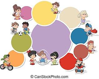 niños, caricatura, juego
