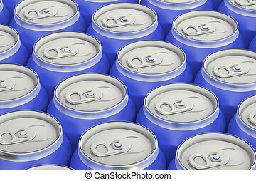 blue drink metallic cans, top view