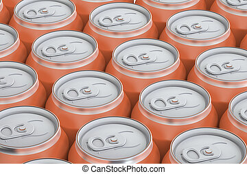 orange drink metallic cans, top view