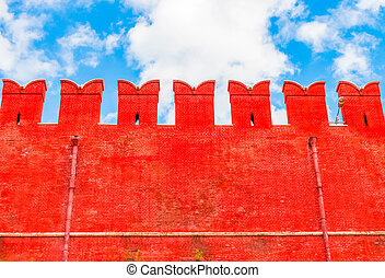 Red brick wall of the Moscow Kremlin, Russia