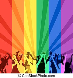 LGBT Community - Illustration of happy celebrating people in...