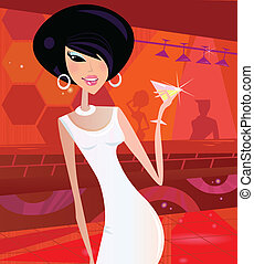 Sexy retro woman in night club - Queen of the disco Vector...