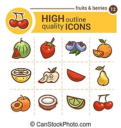fruits and berries stickers - Color flat stickers of fruits...