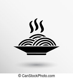 Single black silhouette vector icon bowl with ramen.