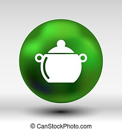 Logo pot casserole cooking Vector image sign.