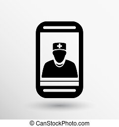 Cartoon illustration phone doctor character holding...